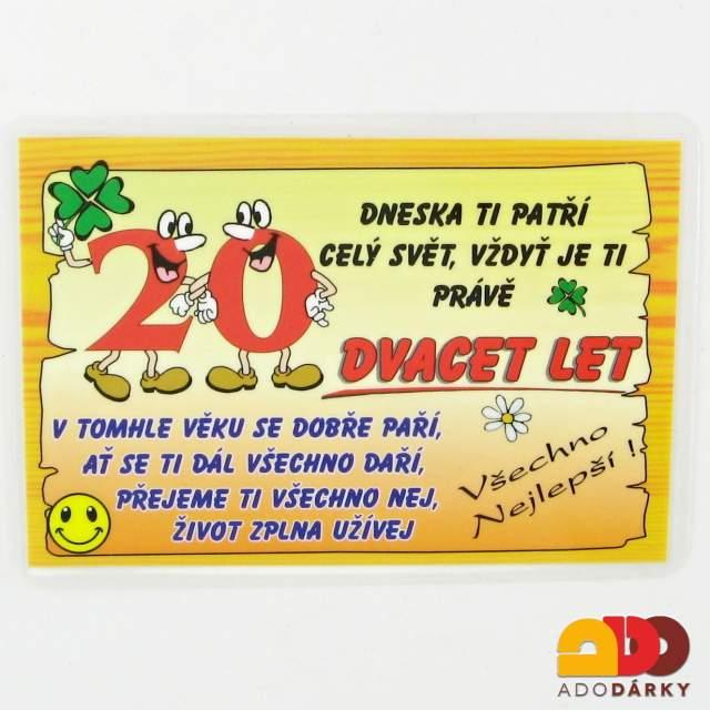 vtipné přání k 20 narozeninám Vtipné cedulky, lahve, trička   Přání 20 let   ADO dárky   e shop  vtipné přání k 20 narozeninám