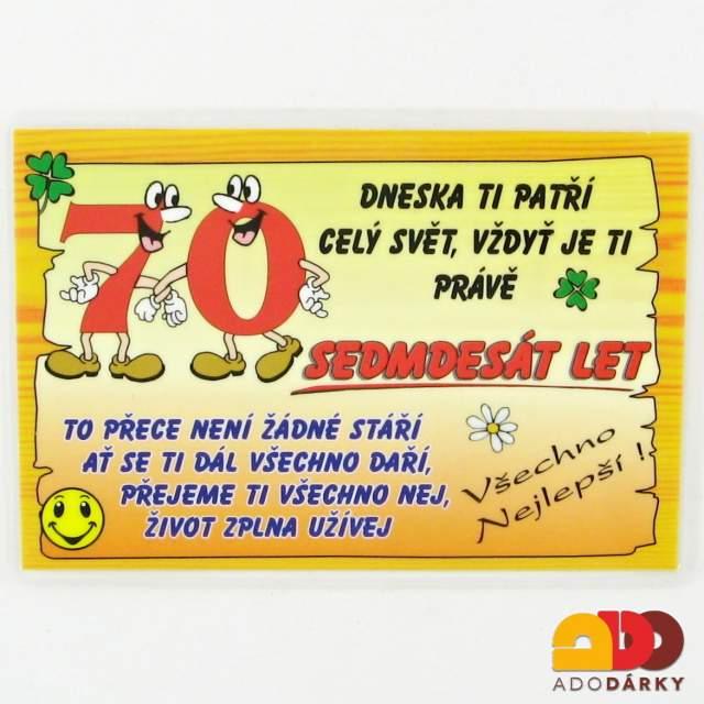 přání k 70 narozeninám pro muže Vtipné cedulky, lahve, trička | Přání 70 let | ADO dárky   e shop  přání k 70 narozeninám pro muže
