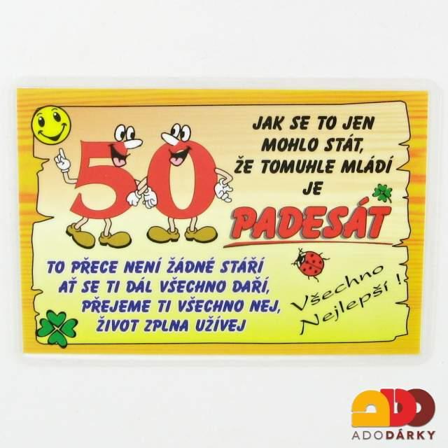 vtipné přání k narozeninám 50 let Dárky pro jubilanty   50. narozeniny   ADO dárky   e shop s dárky  vtipné přání k narozeninám 50 let
