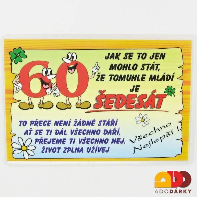 vtipné přání k 60 narozeninám pro muže Dárky pro jubilanty | 60. narozeniny | ADO dárky   e shop s dárky  vtipné přání k 60 narozeninám pro muže